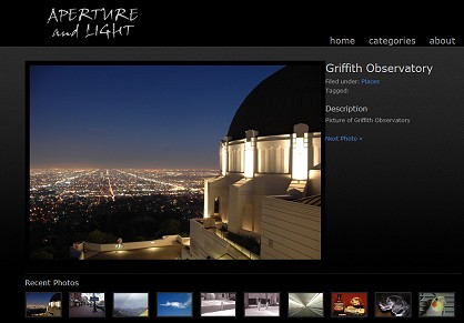 A very simple, and elegant gallery website can be setup for your photographs, artwork, or any other images you would like to share with the world online.